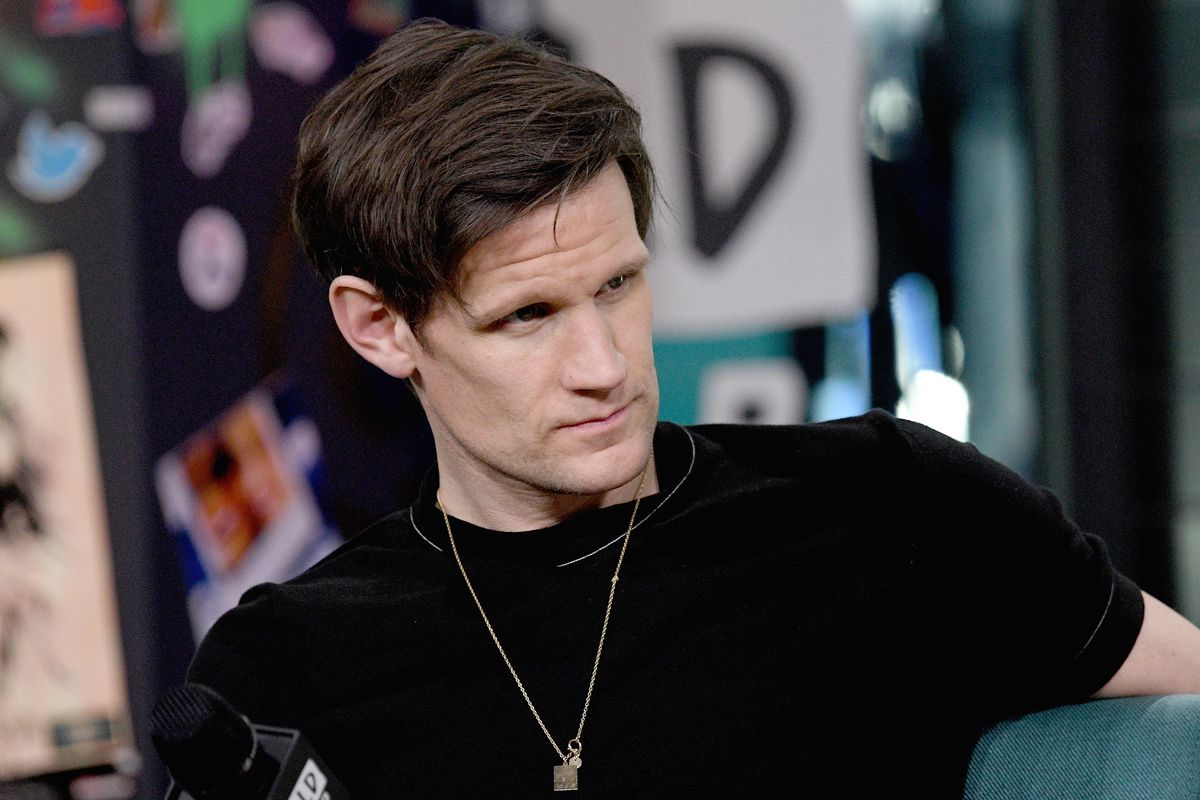 Matt Smith wearing a black T-shirt
