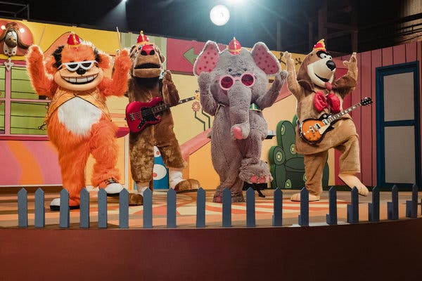 """From left, Bingo, Drooper, Snorky and Fleegle (all voiced by Eric Bauza) in the new """"Banana Splits Movie,"""" before things get heavy."""