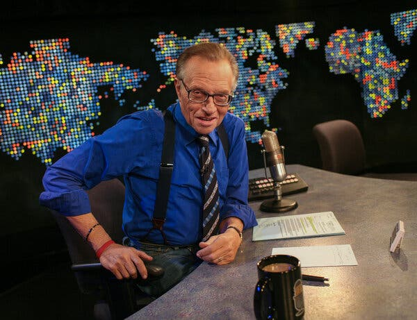 """Larry King on the set of his CNN interview program, """"Larry King Live,"""" which ran for 25 years and was the cable channel's highest-rated show."""