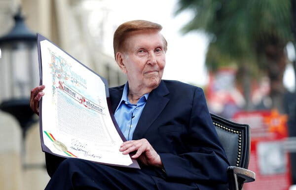 Sumner Redstone in 2012, before the unveiling of his star on the Hollywood Walk of Fame. He died Tuesday.