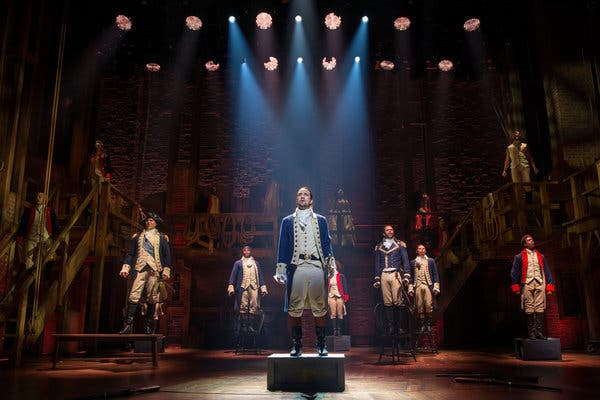 """Lin-Manuel Miranda, center, created and starred in """"Hamilton"""" on Broadway. A filming of the show was slated for theatrical release in 2021, but instead will stream this summer because of the coronavirus pandemic."""