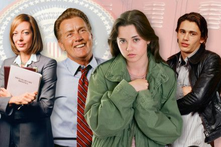 From L-R: Allison Janney as Claudia Jean Cregg and Michael Sheen as Josiah Bartlet in West Wing. Linda Cardellini as Lindsay Weir and James Franco as Daniel Desario in Freaks and Geeks.