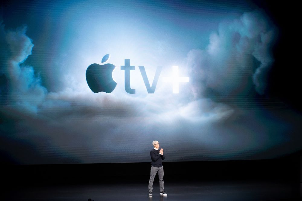 Tim Cook speaks during an event launching Apple tv+ in March 2019.