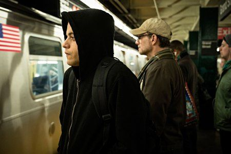 "MR. ROBOT -- ""Unauthorized"" Episode 401 -- Pictured: (l-r) Rami Malek as Elliot Alderson, Christian Slater as Mr. Robot -- (Photo by: Elizabeth Fisher/USA Network)"