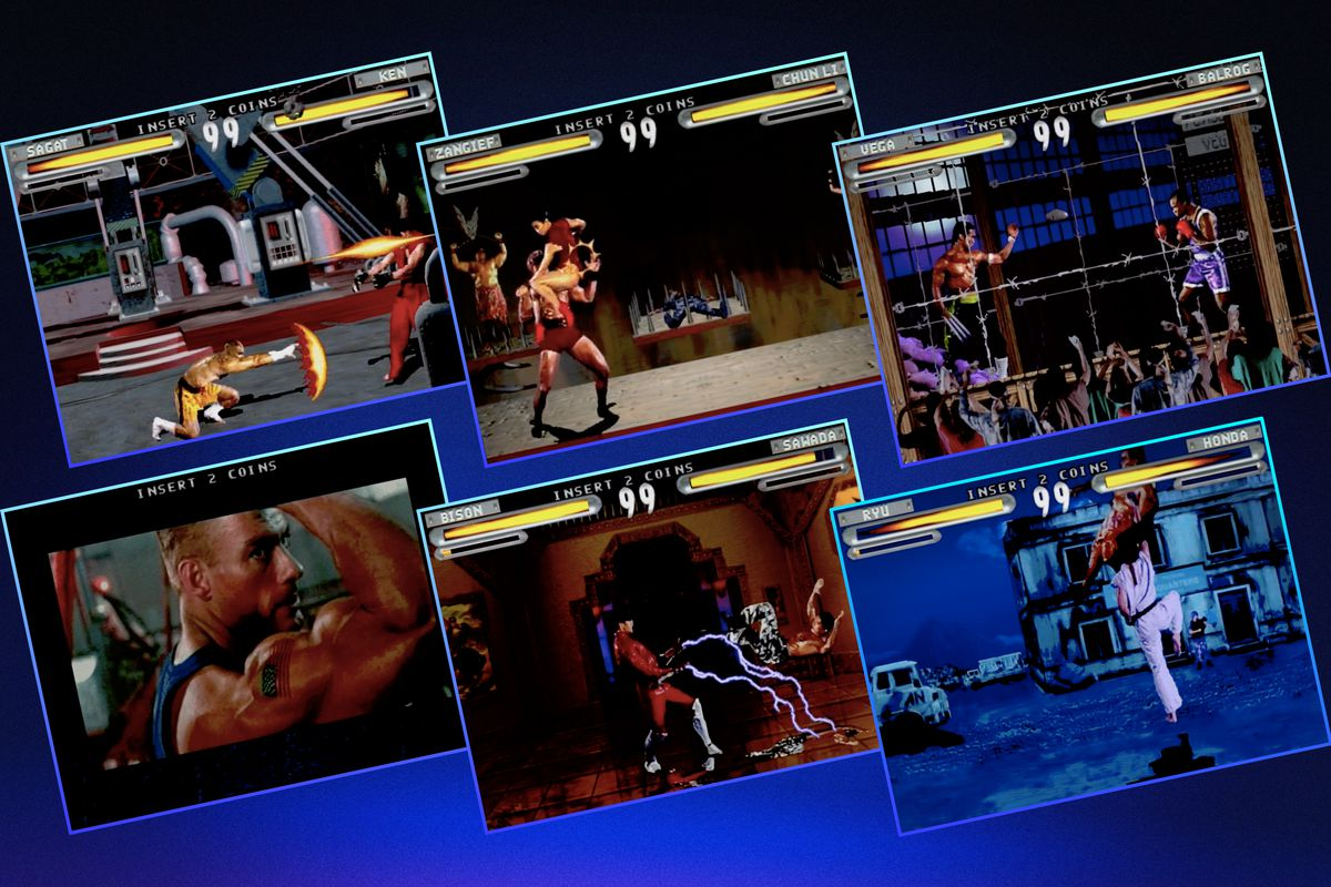 Grid of six different screens from the Street Fighter movie video game