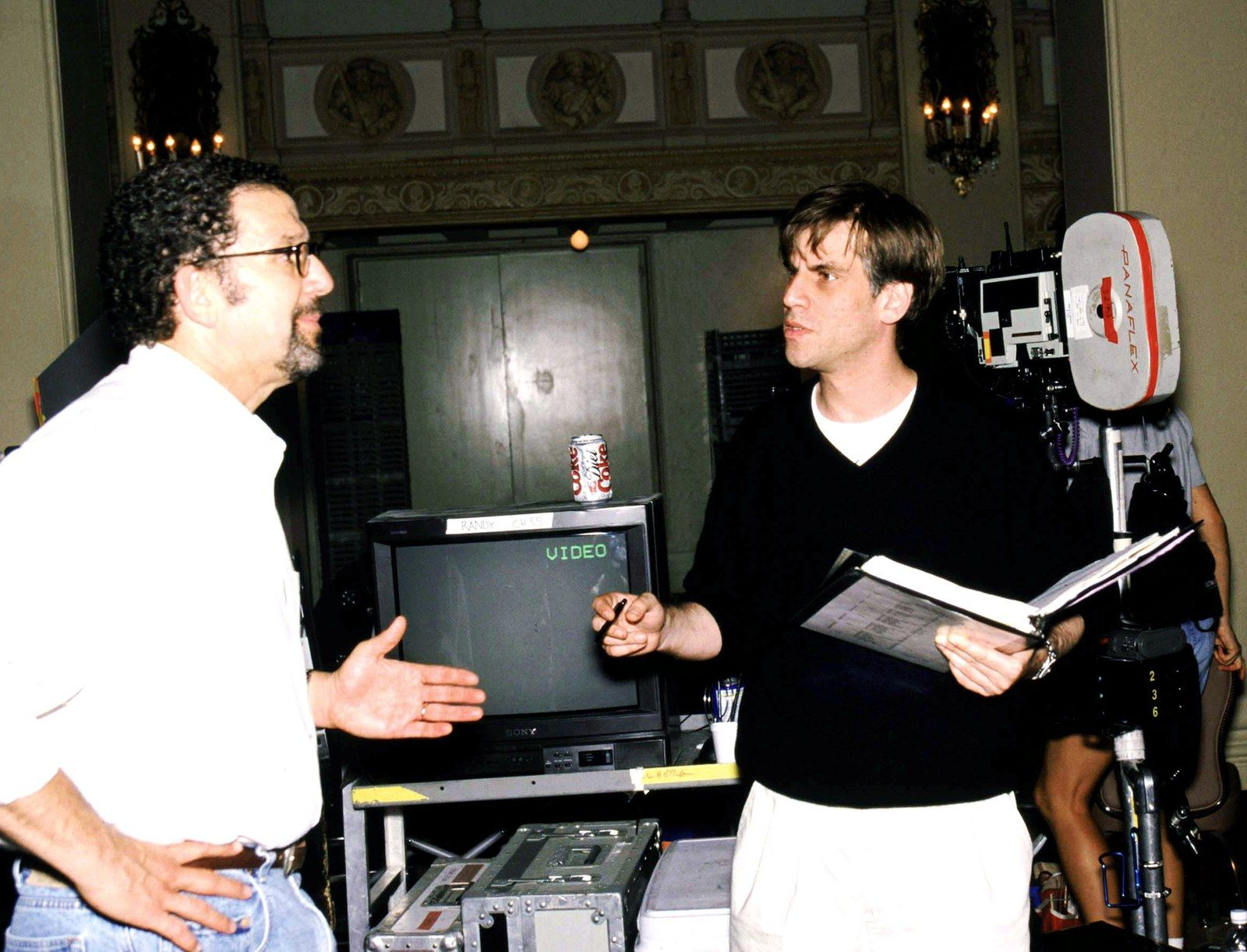 Aaron Sorkin right with director Thomas Schlamme on set.