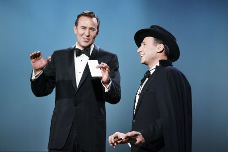 """THE ANDY WILLIAMS SHOW -- Episode 11/27/1966 -- Pictured: (l-r) Carl Reiner, Mel Brooks performing their """"2000 Year Old Man"""" skit -- Photo by: Gerald Smith/NBCU Photo Bank"""