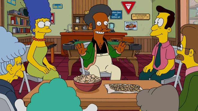 """The Simpsons"" has plans for Apu, center (seen with Marge, left, and Rev. Lovejoy), according to creator Matt Groening. Hank Azaria is no longer voicing the convenience-store operator after criticism regarding a white actor voicing the Indian character."