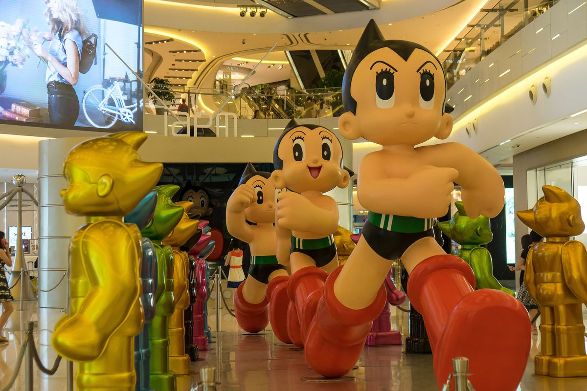 An Astro Boy exhibit at Shanghai IAPM shopping mall on July 29, 2015, in Shanghai, China.