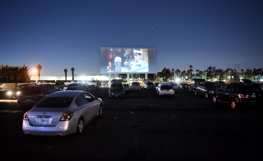 Cars take their places before a movie at Paramount Drive-In on Tuesday.